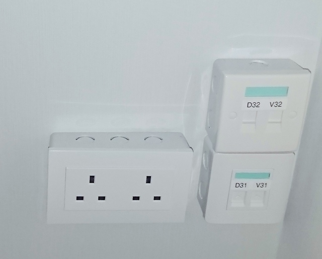 White panel with power cabling